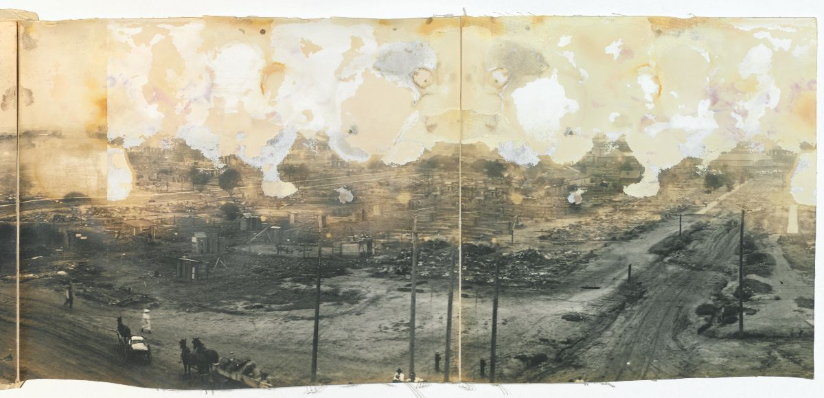 Panoramic photograph from American Red Cross album of Tulsa following the massacre of 1921.