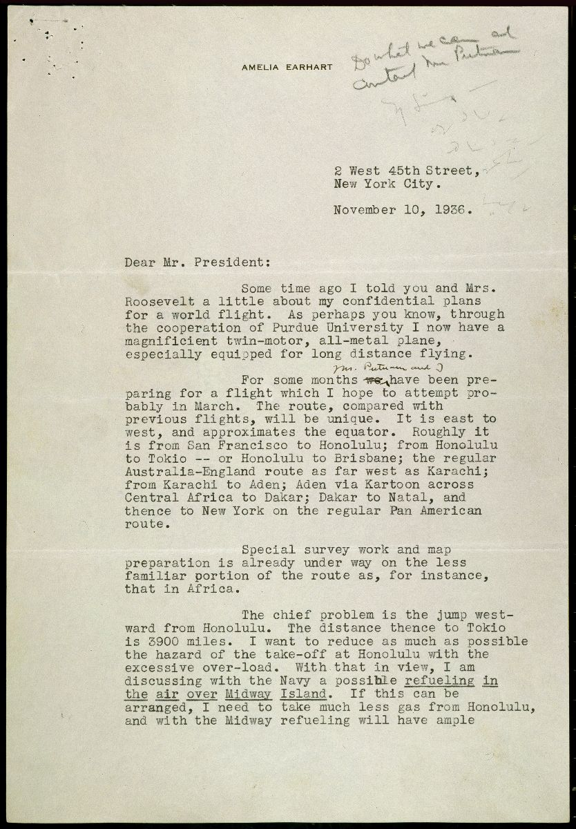 Page 1 of a typewritten letter from Amelia Earhart to President Roosevelt