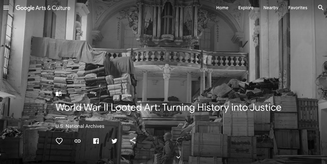 Title slide of the online exhibit, World War II Looted Art: Turning History into Justice