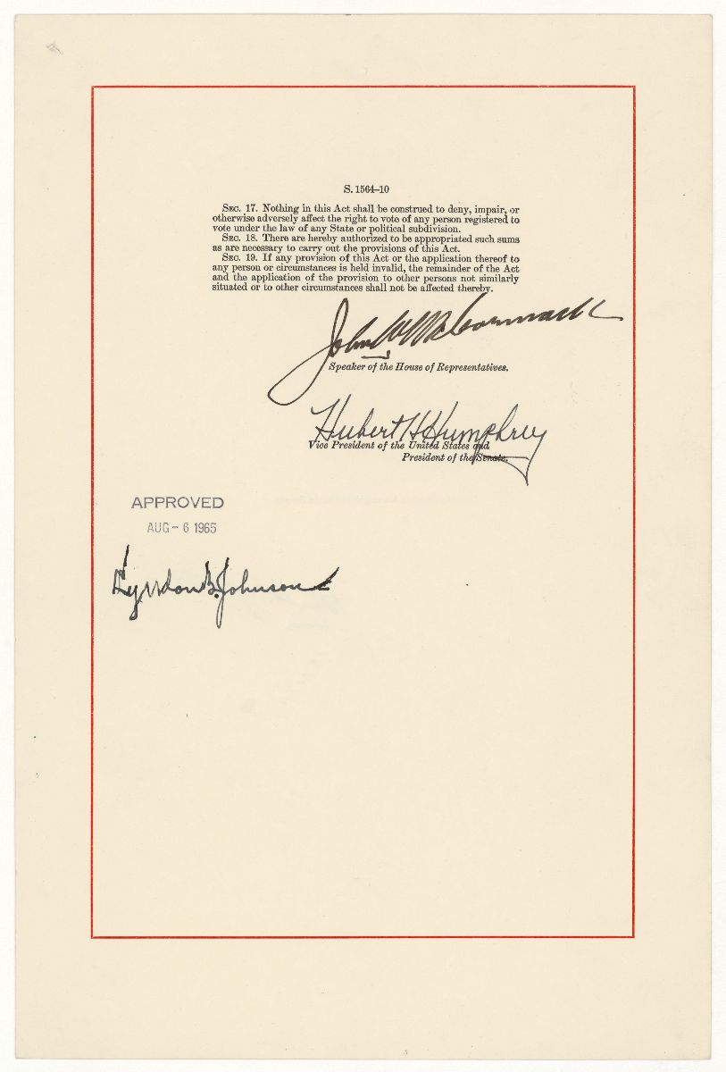 Signature page of the Voting Rights Act of 1965 document, showing Lyndon Johnson's signature