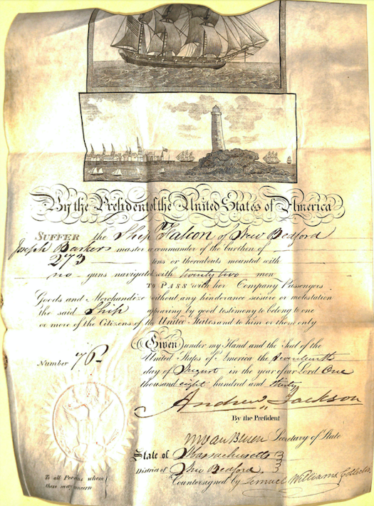 Document showing mediterranean passport for the ship Falcon signed by Andrew Jackson and Martin Van Buren