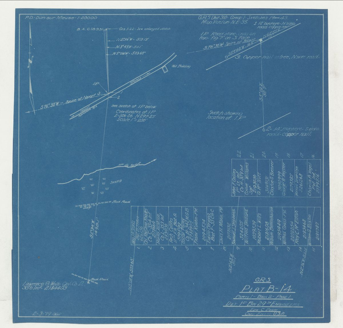 Blueprint detailing the location of American soldier battlefield grave sites during World War I.