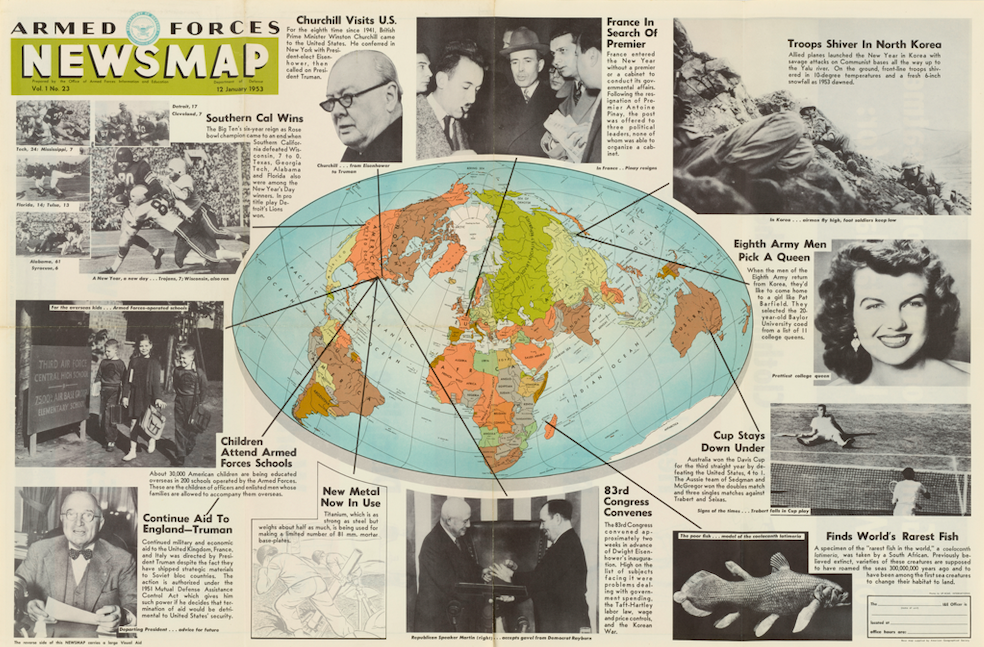 Image of Armed Forces Newsmap, showing a world map in the middle, with pictures and news stories surrounding the map.