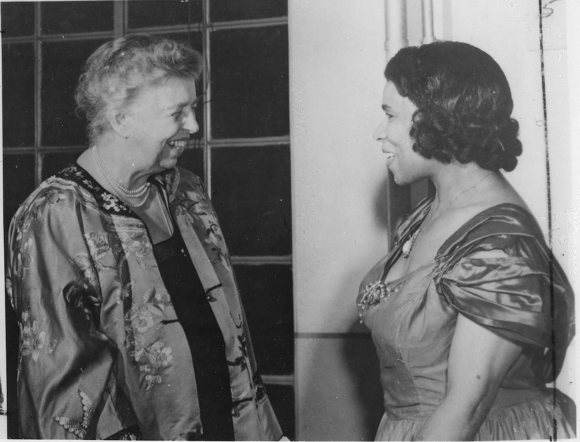 Black and white photograph of Eleanor Roosevelt speaking with Marian Anderson
