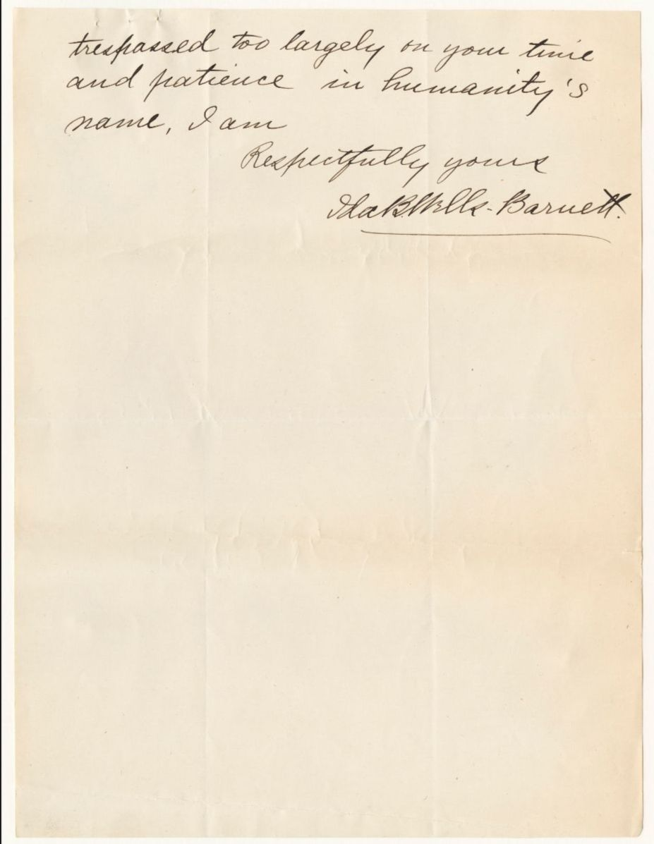 Page 2 of a handwritten letter from Ida B. Wells to Mr. Dawes