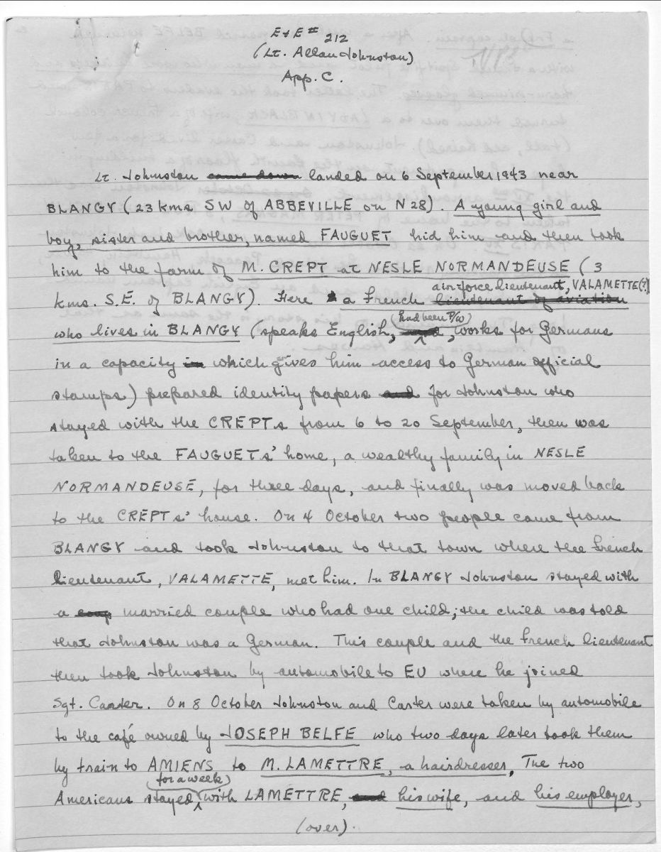 Handwritten narrative contained within escape and evasion report