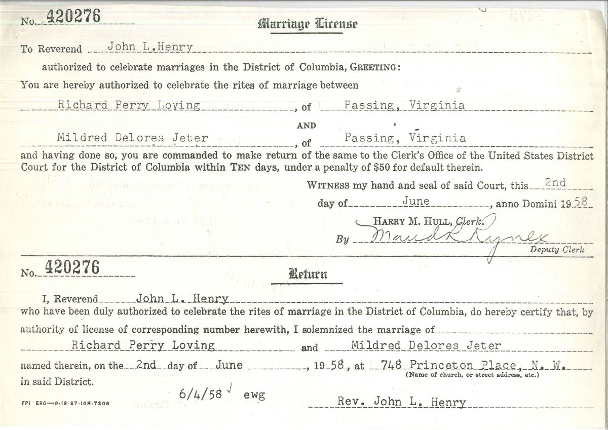 Marriage license for Richard Loving and Mildred Jeter. The names and dates and locations are typed into the standard license form