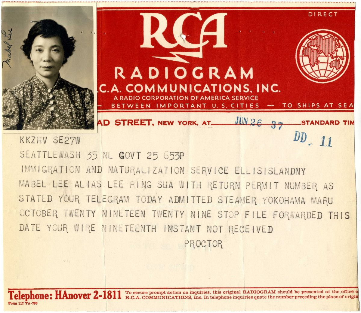 Radiogram concerning Mabel Ping-Hua Lee. The image featured the RCA logo at the top with a picture of Lee in the upper left hand corner.
