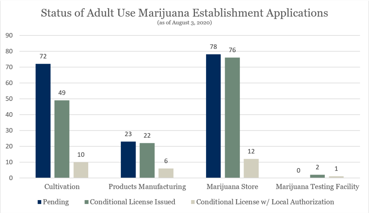 A chart showing the distribution and license status by adult use establishment type.