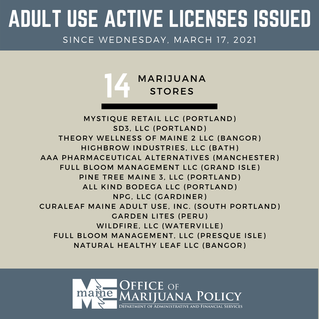 A graphic previewing new marijuana stores.