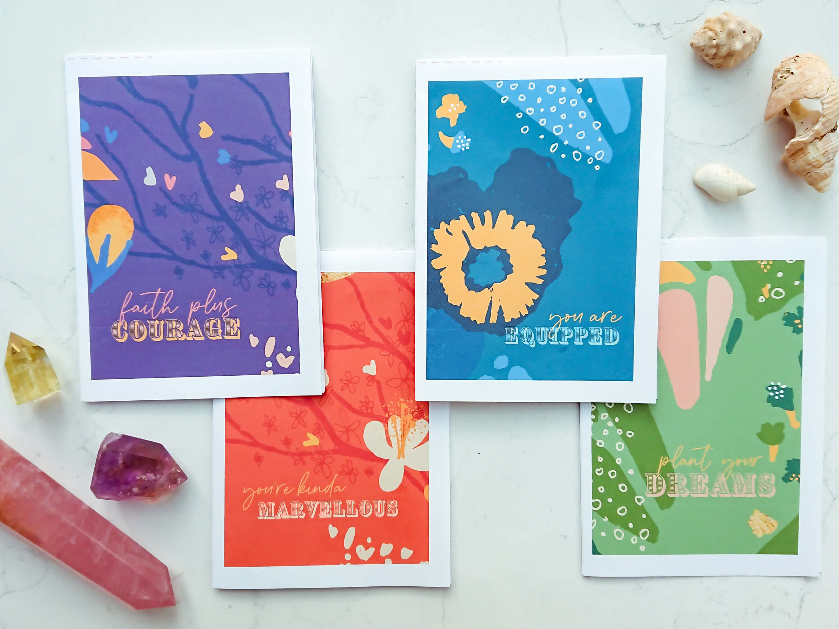 Set of 4 print-it-yourself cards