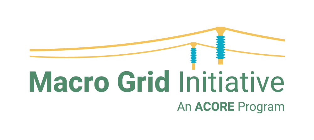 """Yellow transmission lines above the words """"Macro Grid Initiative"""" / Below that reads """"An ACORE Program"""""""