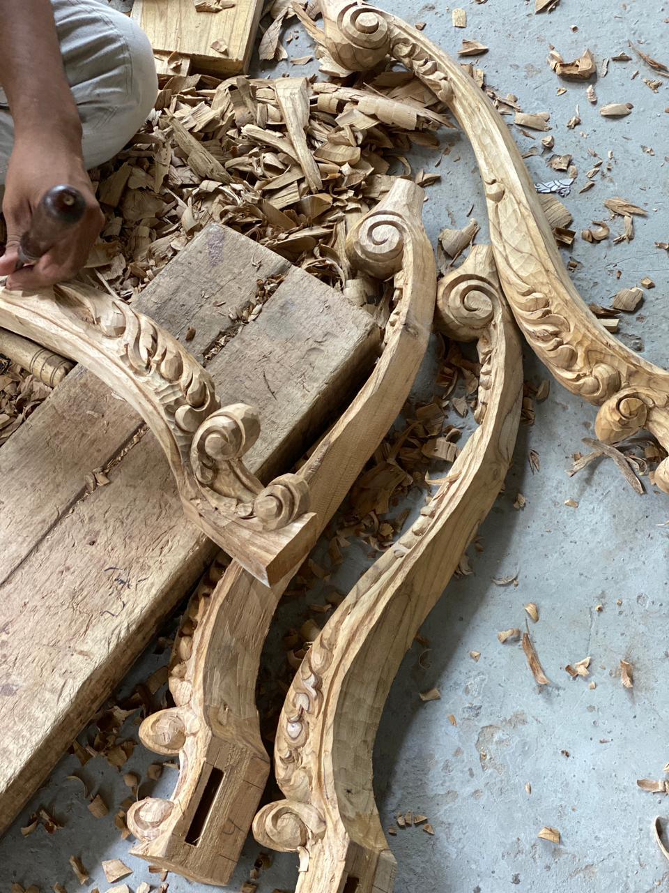 Teak wood seasoning wood carving skills joining turning