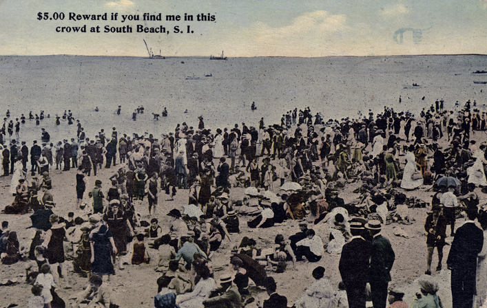 Irma and Paul Milstein Division of United States History, Local History and Genealogy, The New York Public Library. $5.00 Reward if you find me in this crowd at South Beach, Staten Island