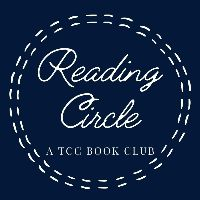 Logo of Reading Circle, a TCC book club. It has a blue background and white stitches in a circle. In the middle is the text.
