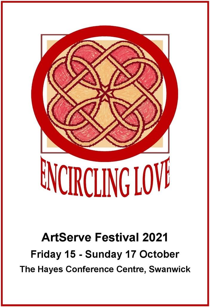 "Festival 2021 logo. Celtic design in red and gold. ""Encircling Love"""