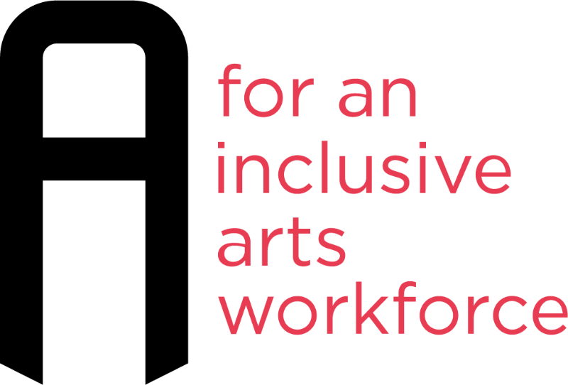 """Inc Arts UK logo. A black, blockish capital 'A'  with red text to the right that reads: """"for an inclusive arts workforce"""""""