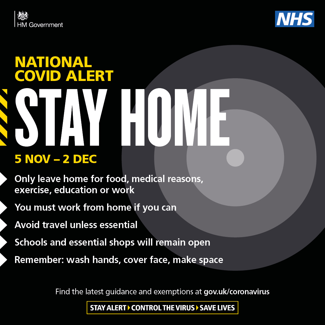 Image - Stay home - national covid alert. Only leave home for food, medical reasons, exercise, education or work. You must work from home if you can. Avoid travel unless essential. Schools and essential shops will remain open. Remember: wash hands, cover face, make space.