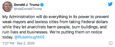Pres Trump Sept 3 2020 tweet