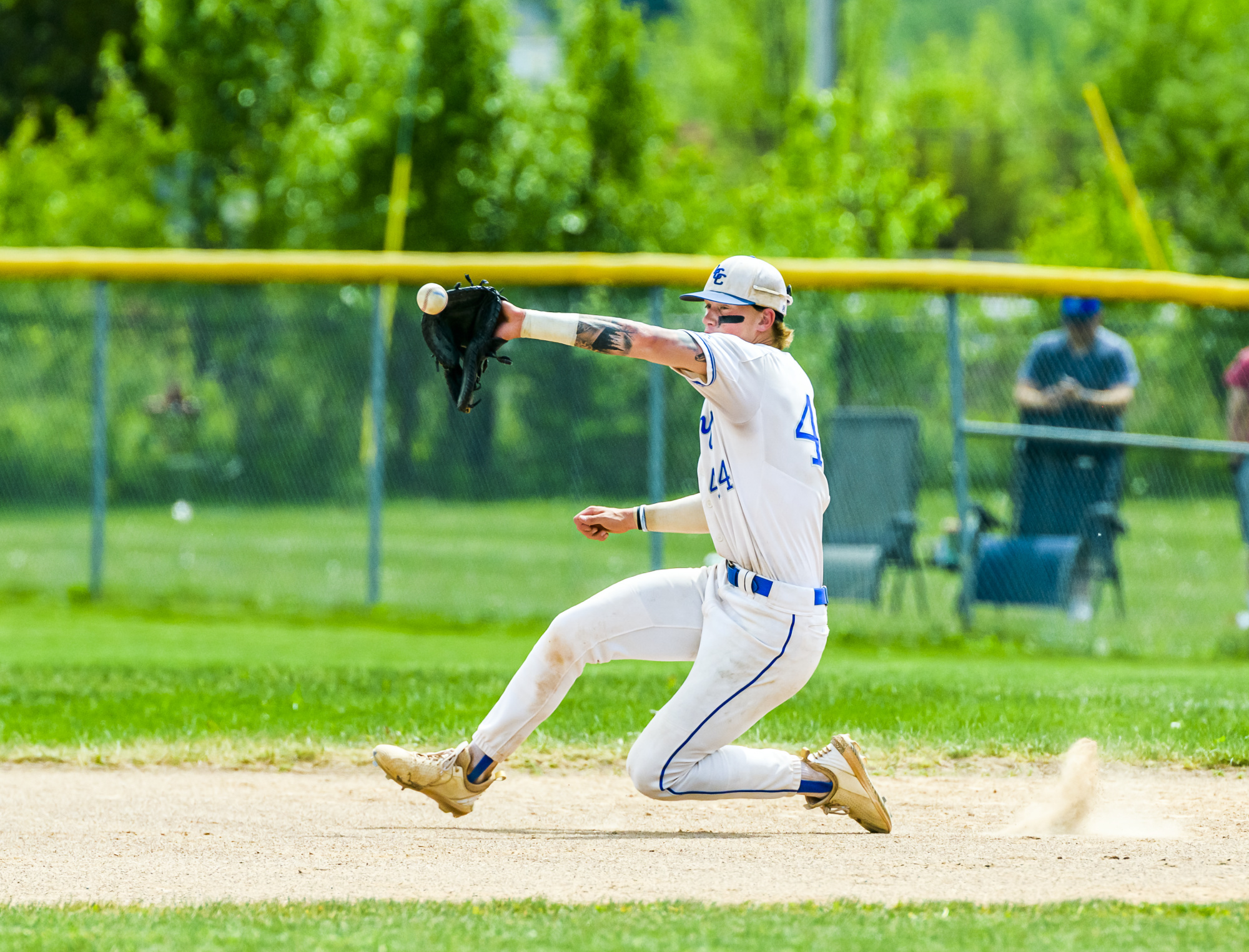 Hunter Lay of LCC moves to catch a throw during the first game of their NJCAA Region XII Baseball Championship series with Kellogg Community College Friday May 21, 2021.