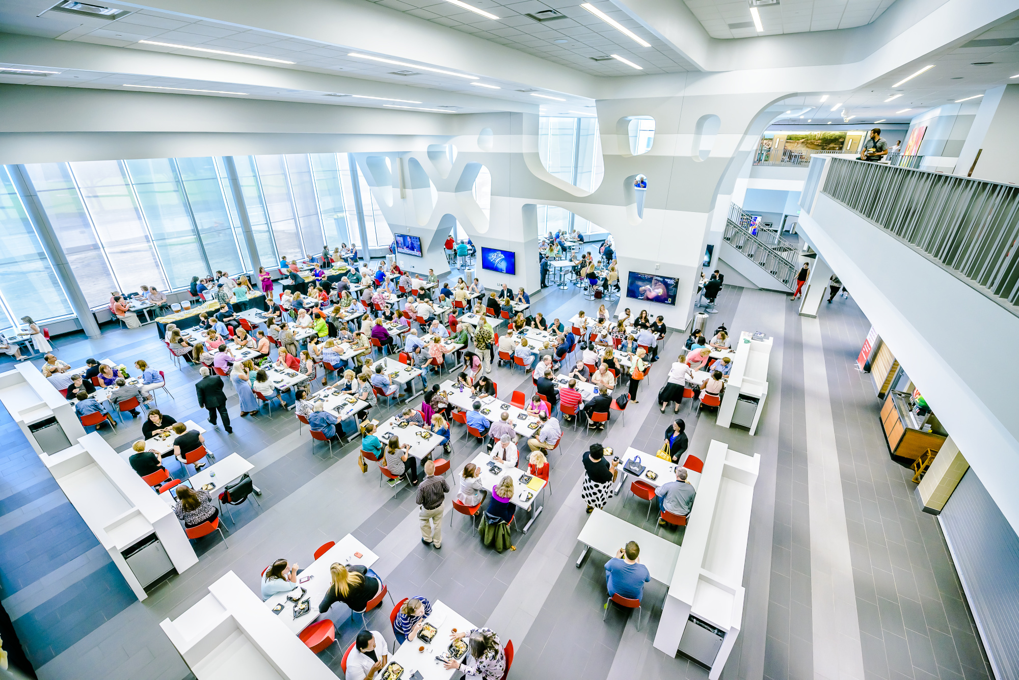 Overhead view of the Gannon Commons during lunch
