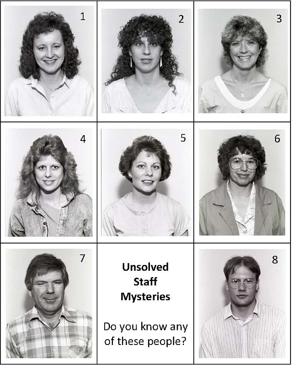 Individual photos of unidentified LCC employees