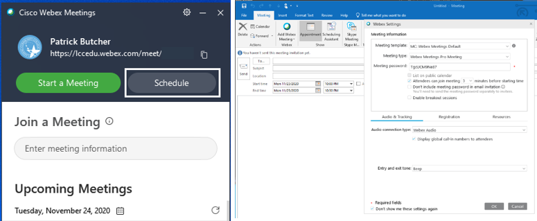 Screenshot of Webex desktop, showing the gray Schedule button