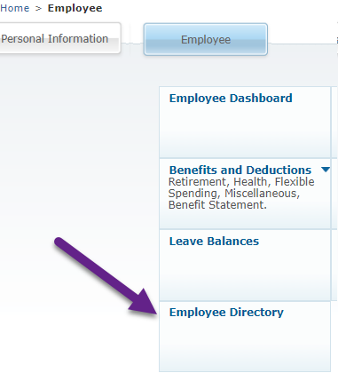 Screenshot showing the location of the Employee Directory in the Employee tab on Banner