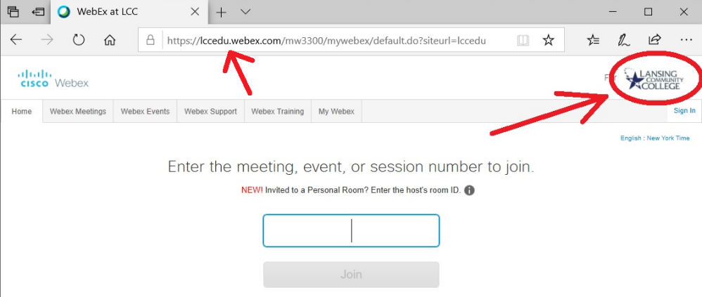 Screenshot from LCC's WebEx login, showing a legitimate URL and the LCC logo in the upper righthand corner.