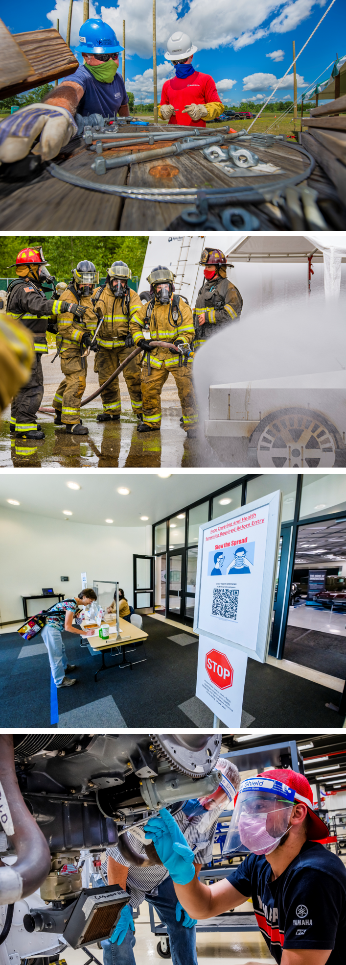 Top to bottom: Students in a lineworker class on July 13. Students put out a vehicle fire at the Fire Academy on July 21. Health screenings conducted at the entrance to West Campus on July 28. Students in an Aviation Maintenance class on June 30.