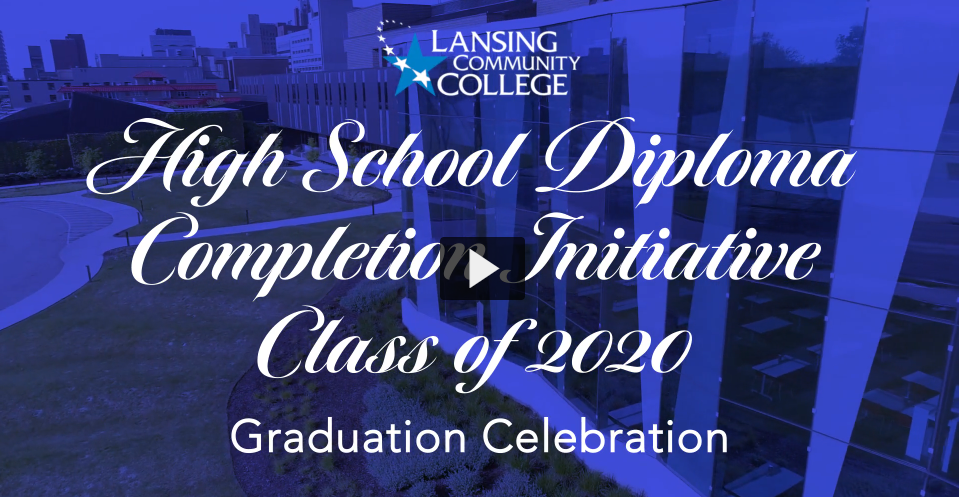 """Screenshot from the HSDCI virtual commencement, reading """"High School Diploma Completion Initiative Class of 2020 Graduation Celebration"""""""