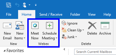 Screenshot of Webex in Outlook, showing the Meet Now and Schedule Meeting buttons