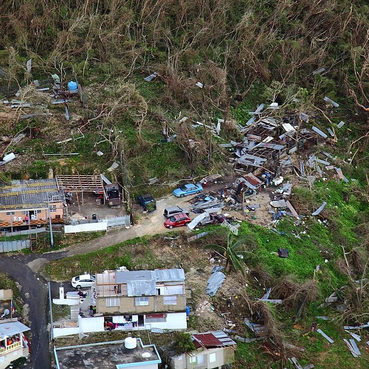 Rubble from buildings hit by Hurricane Maria in Dominica