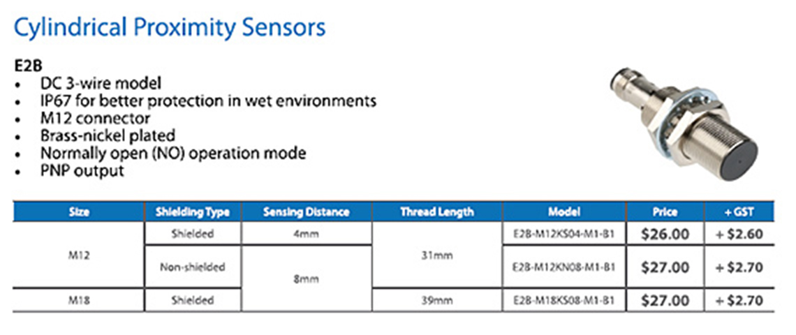 Cylindrical proximity sensors
