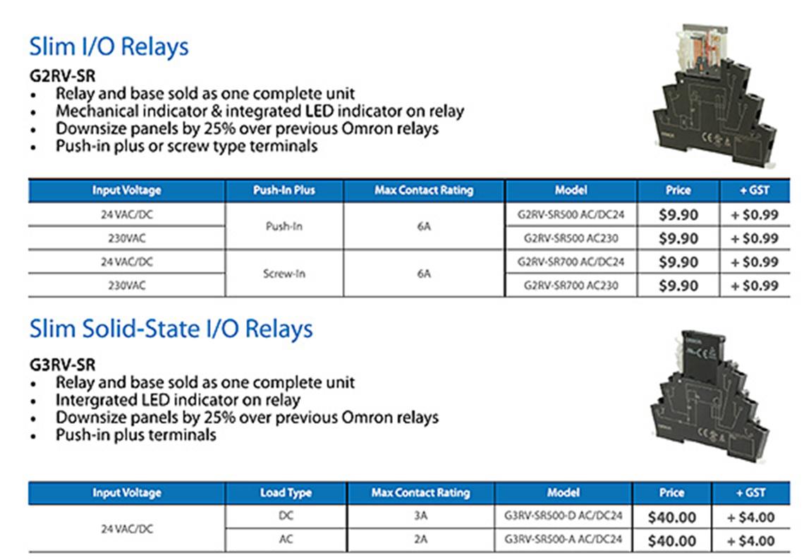 Slim I/O relays