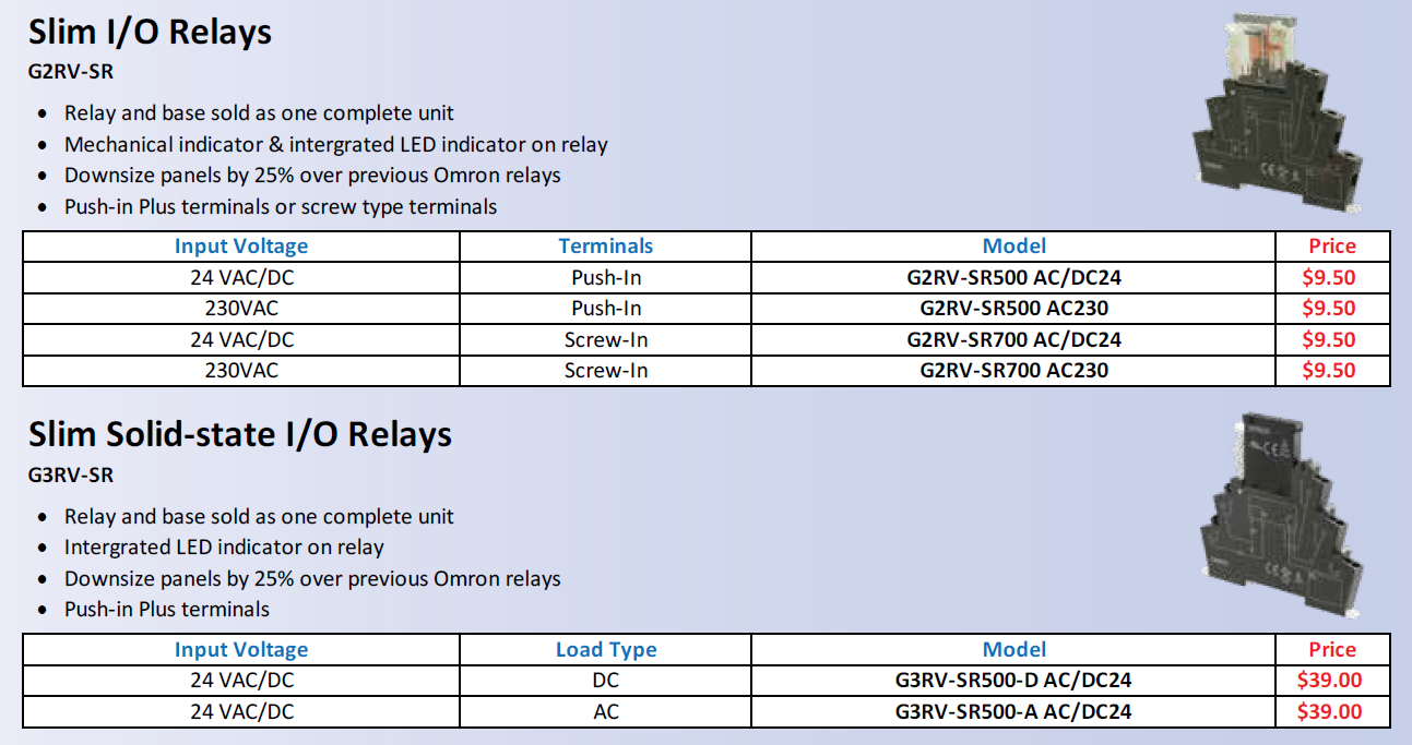 Omron Slim I/O Relays / Slim Solid-state I/O Relays