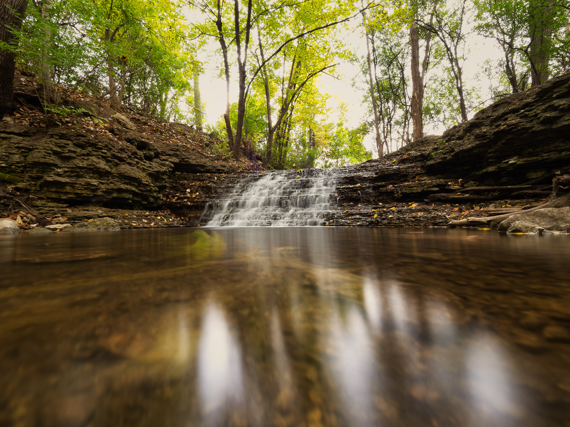 waterfall at Jon Duerr forest preserve