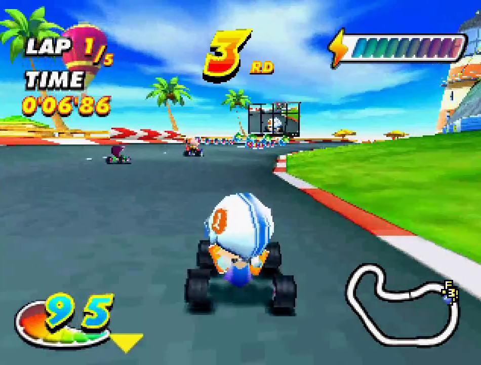 Not to be confused with the other cartoon-y cart racer for the PS1.