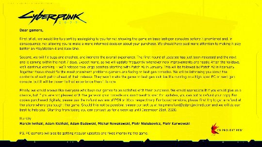 The yellow message box returns with an apology