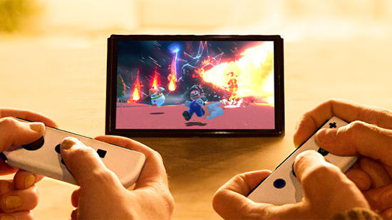 Switch OLED being played in Tabletop mode