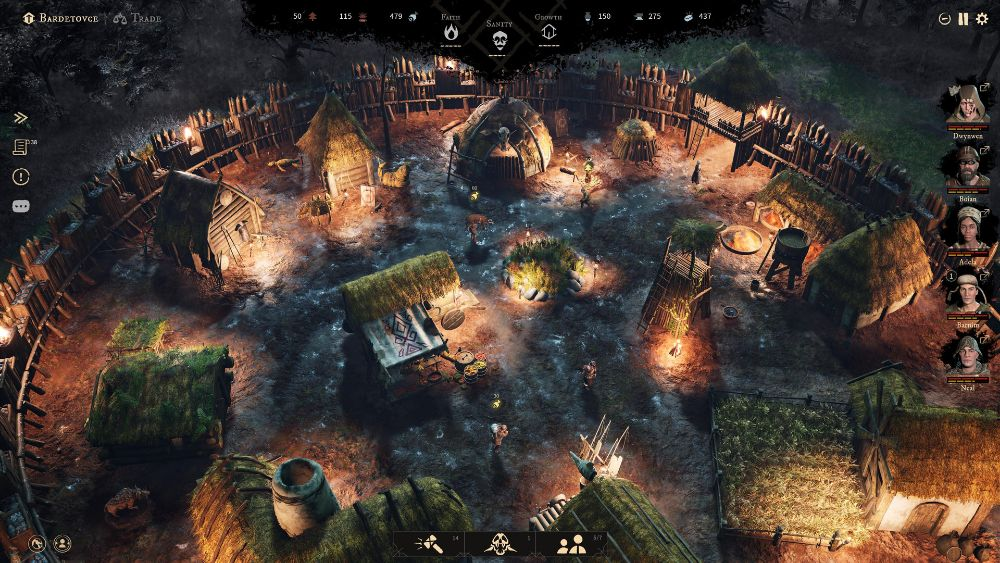 Build and manage a village between adventures