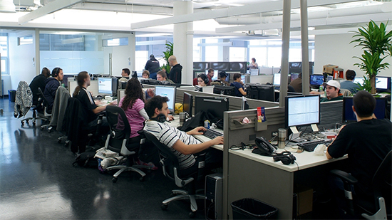 Staff in the office at Eidos Montreal