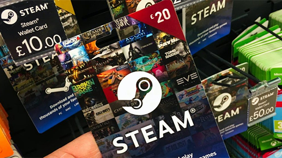 Photo of Steam Wallet Cards in retail store