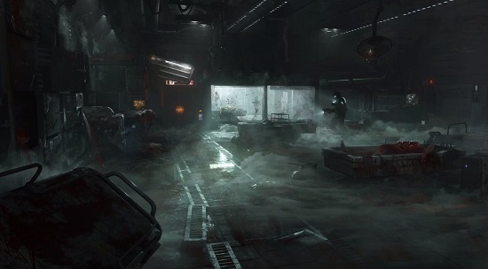 Medical Deck concept art, showing broken medical machines, blood splattered walls and lots of fog - Isaac is seen searching the location with a flash light