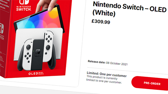 Nintendo Store UK product page for Switch OLED