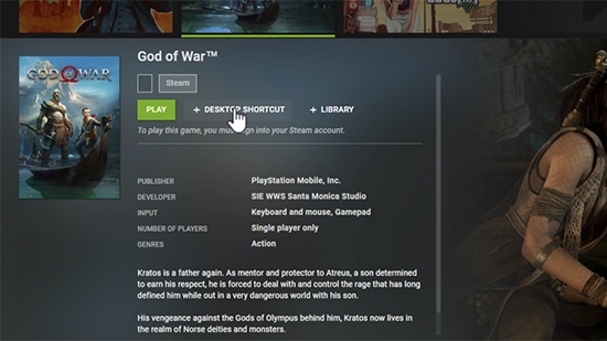 """Snapshot of """"speculative"""" God of War listing in GeForce Now"""