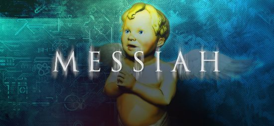 One of Messiah's logo, showing the putto Bob enclosing his hands
