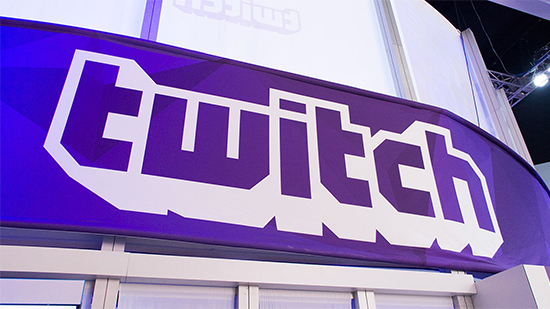 Large Twitch logo at convention