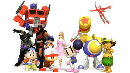 A partial roster from DreamMix TV, mixing characters from Konami, Hudson, and Takara