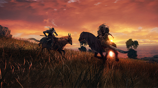 Elden Ring's mounted combat at sunset